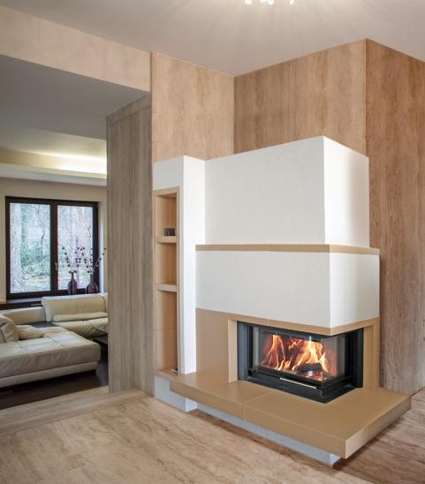 modern stílusú kétoldalas 12 kW-os kandalló havana bézs színű
