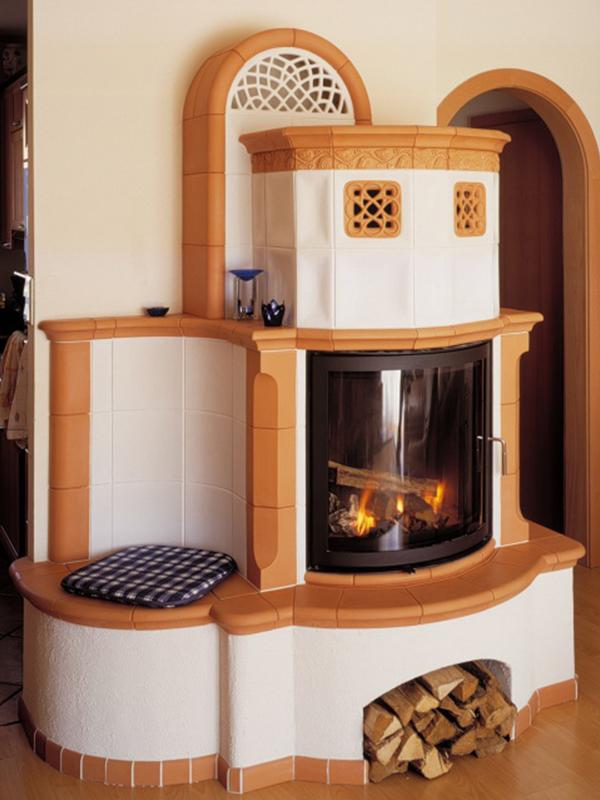 klassik stílusú alabástrom és terracotta színű 12 kW-os kandalló íves üveggel