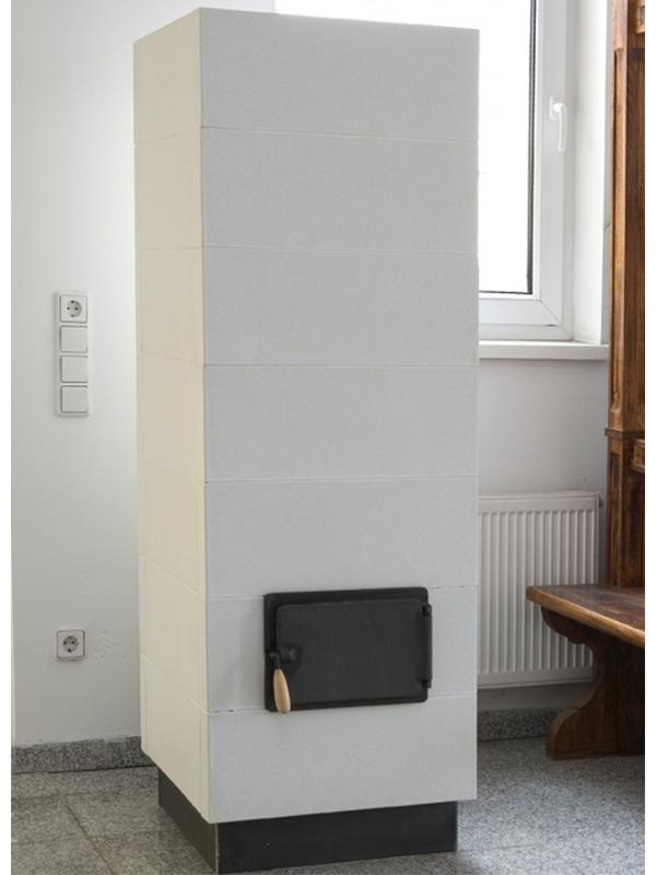 Modern stílusú alabástrom színű 3kW-os cserépkályha