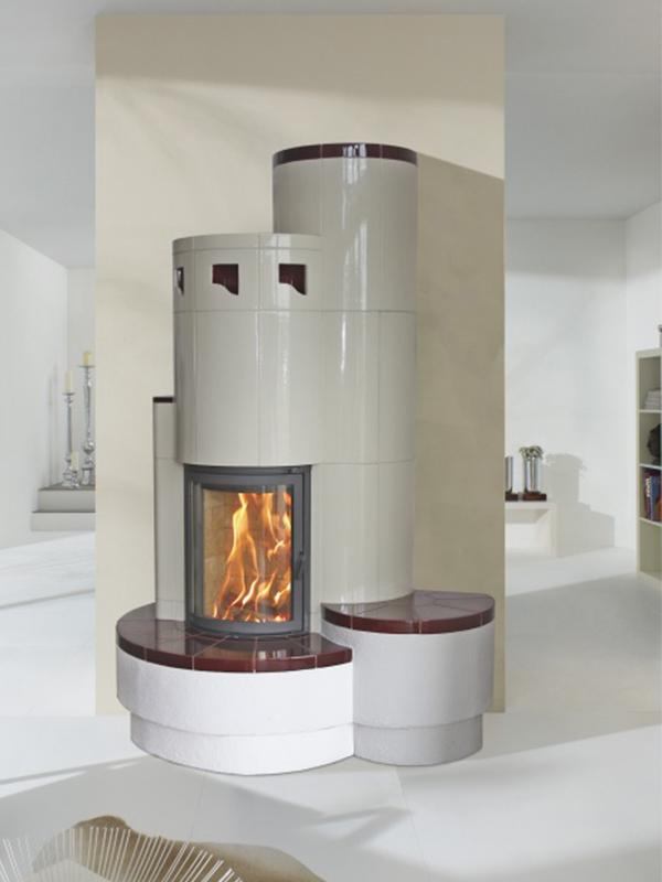 mondern stílusú 8 kW-os kandalló fehér és meggybordó színű íves üveggel