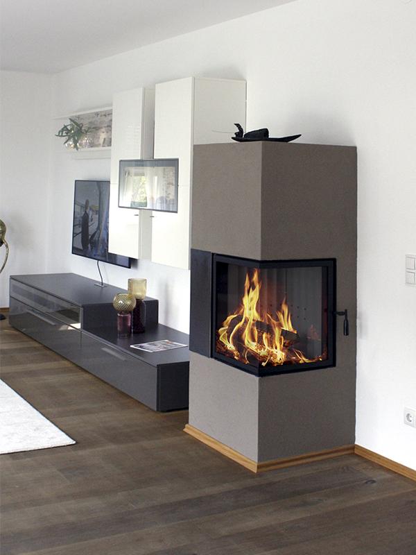 modern stílusú kétoldalas barna 7kW-os kandalló