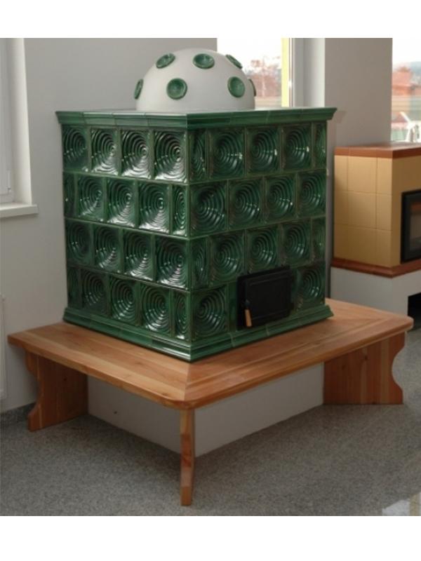 klassik stílusú 3kW-os fűzüld színű kandalló fa ülőpadkával