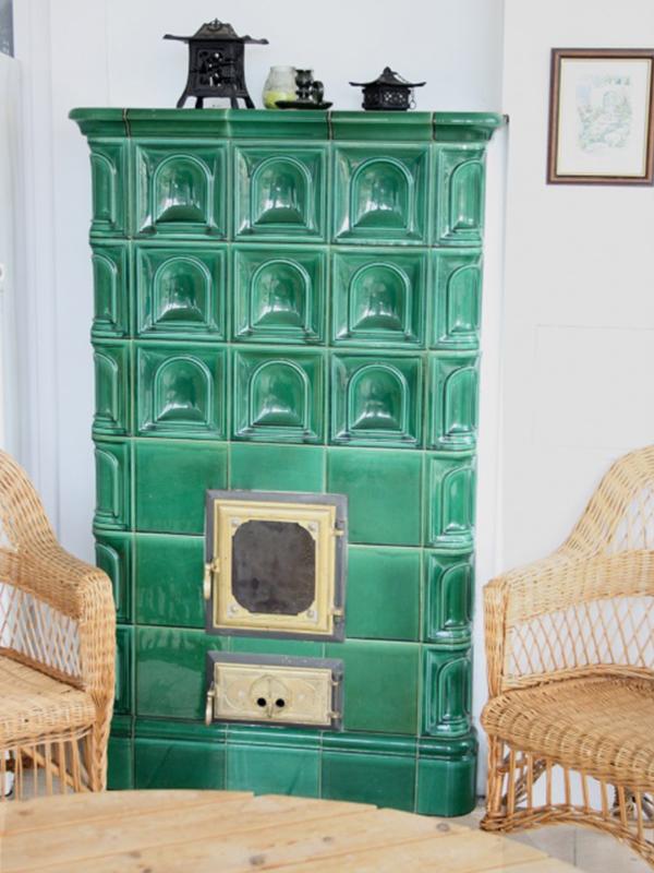 klassik stílusú fűzöld színű kandalló