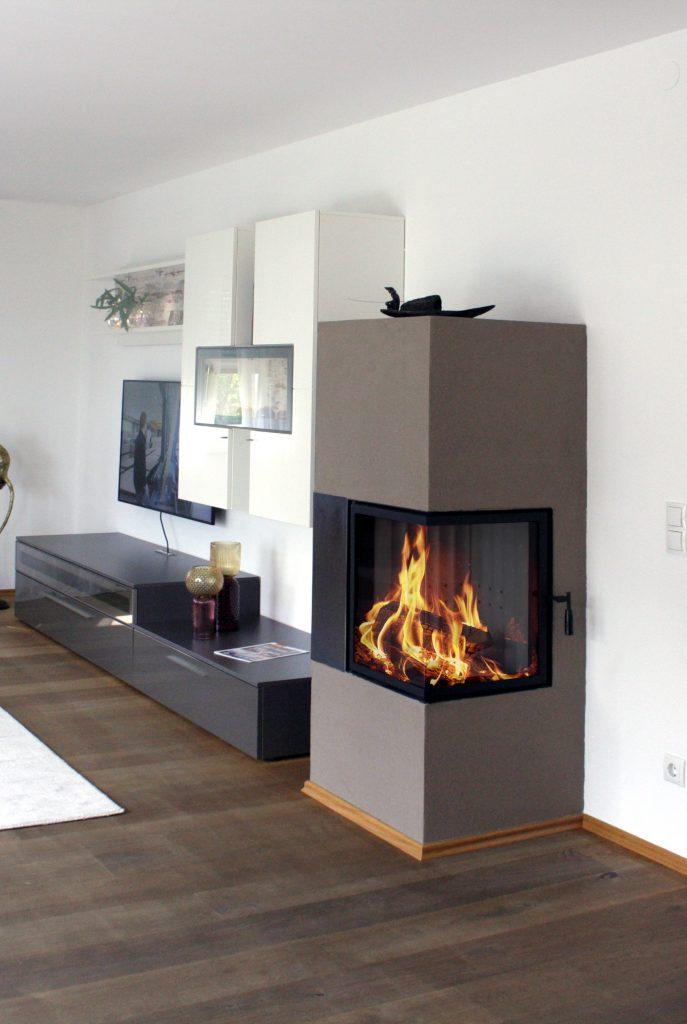 modern stílusú 7 kW-os kétoldalas barna színű kandalló