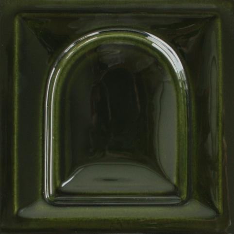 fényes olivazöld színű máz